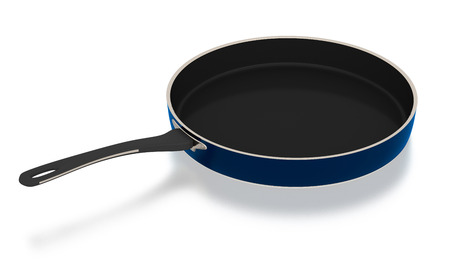 Frying pan isolated on white background. Include clipping path. Side view. 3D illustration