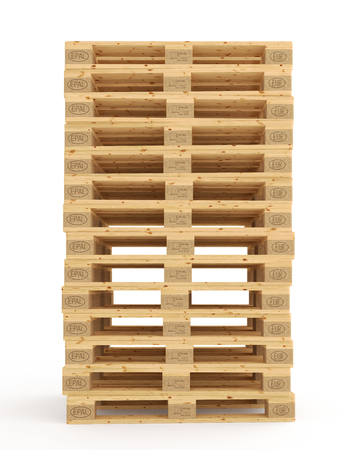 Euro pallets. Isolated on white background. Include clipping path. 3d render