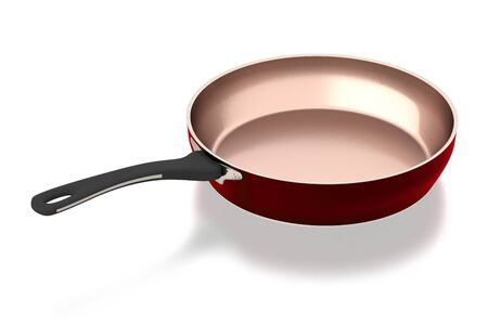 cooper: Brass frying pan isolated on white background. Include clipping path. Side view. 3D illustration.