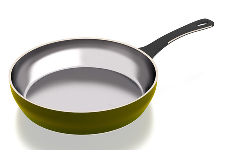 Steel frying pan isolated on white background. Include clipping path. Side view.  3D illustration Stock Photo