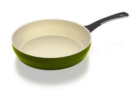Ceramic pan isolated on white background. Include clipping path. 3D illustration.