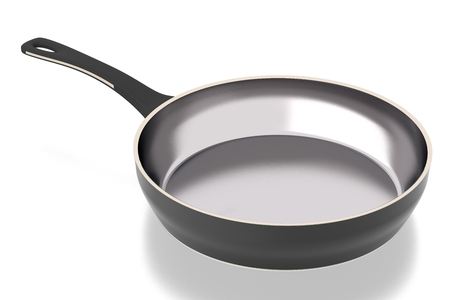 Steel frying pan isolated on white background. Include clipping path. Side view  3D illustration