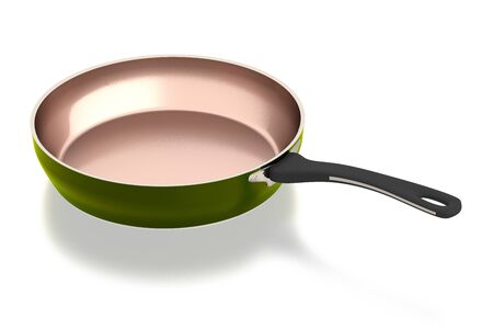 Brass frying pan isolated on white background. Include clipping path. Side view. 3D illustration.