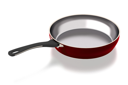 Steel frying pan isolated on white background. Include clipping path. Side view. 3D illustration