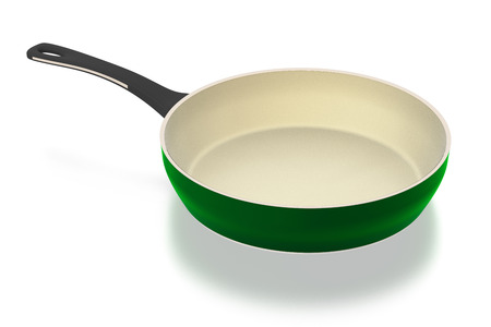 Green ceramic frying pan isolated on white background. Include clipping path.3D illustration.