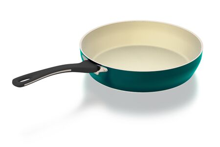 Cyan ceramic frying pan isolated on white background. Include clipping path. 3D illustration