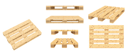 Euro pallet. Isolated on white background. 3d render Reklamní fotografie