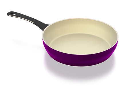Ceramic frying pan isolated on white background. Include clipping path. 3D illustration.