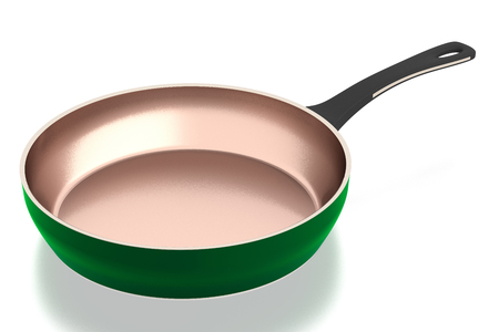 preparations: Cooper frying pan isolated on white background. Include clipping path. Side view. 3D illustration.