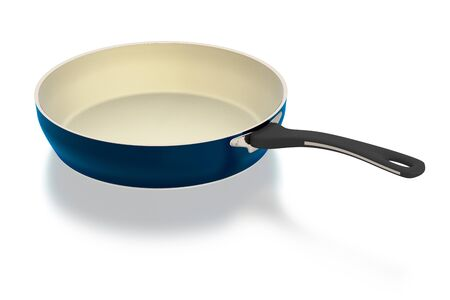 Ceramic frying pan isolated on white background. Include clipping path. 3D illustration