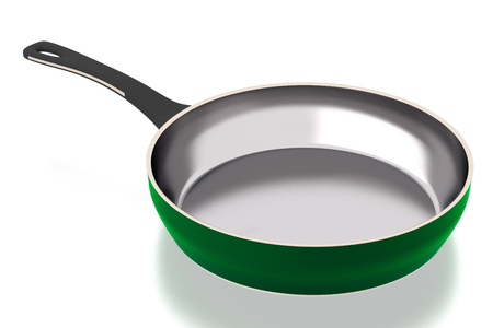 Frying pan isolated on white background. Include clipping path. 3D illustration. Side view
