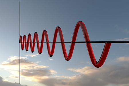 正弦波。3 d イラストレーション