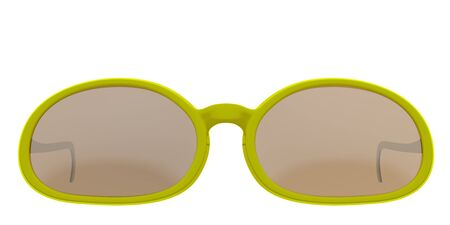 eyewear: Yellow sun glasses isolated over the white background. Include clipping path. 3D render