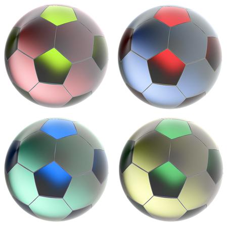 Glass soccer balls. Isolated on white background. 3d render Stock Photo