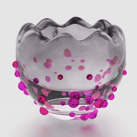 Empty glass bowl isolated on white background. Colorful crystals. Include clipping path. Front view. 3D illustration