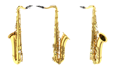 shiny buttons: Tenor saxophone. Isolated on white background.  3d render Stock Photo