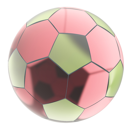 Glass soccer ball. Isolated on white background. Include clipping path. 3d render Stock Photo
