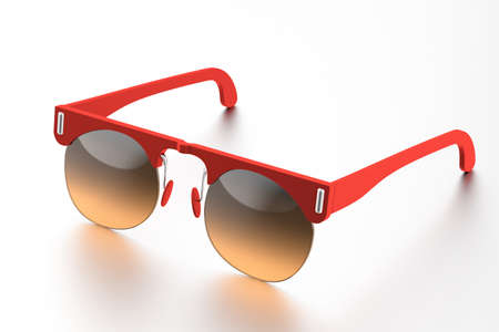 Red sunglasses isolated on white background. With clipping path Stock Photo