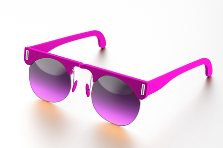 Fuchsia sunglasses isolated on white background. With clipping path
