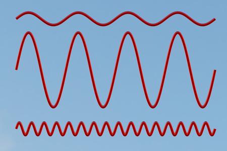 正弦波。青に分離されたクリッピング パスが含まれます。3 d イラストレーション