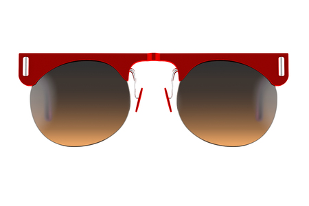 eyewear: Red sunglasses isolated on white background. With clipping path. 3D render