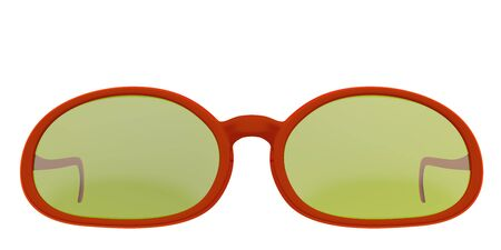 Red sun glasses isolated over the white background. Include clipping path. 3D render