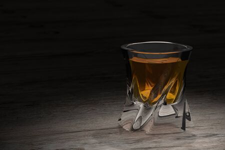countertop: Whiskey on wooden background with copy-space. An old and vintage countertop with highlight and a glass of hard liquor. 3D render