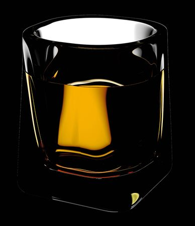 scotch: Whiskey glass with clipping path. Isolated on black background. 3D illustration
