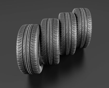 Four car tires on white background. Include clipping path. 3d illustration