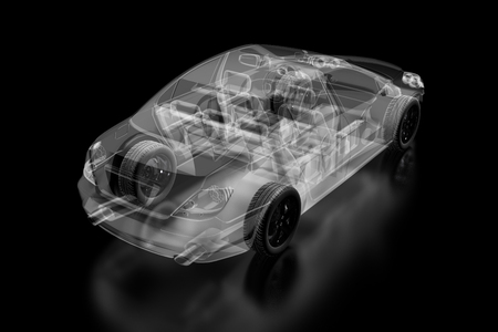 sportcar: X-ray car isolated on black. 3d illustration Stock Photo