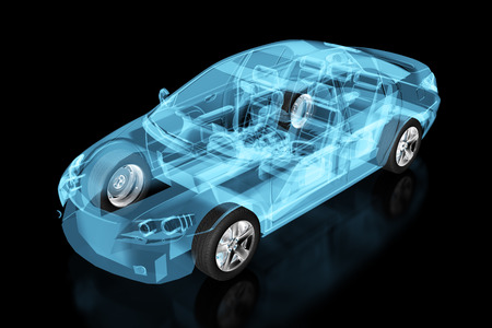 X-ray car isolated on black. 3d illustration.