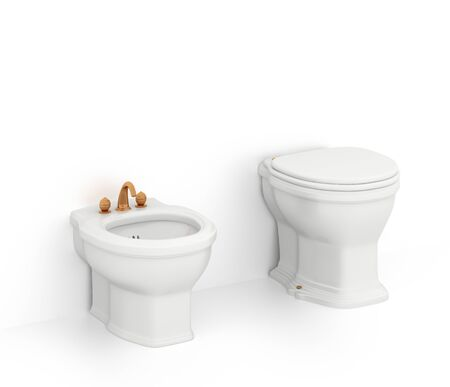 Bidet and toilet isolated on white background. Include clipping path. 3d illustration