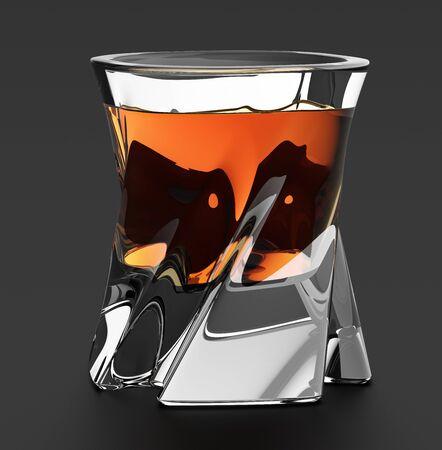 bourbon: Glass of whiskey. Studio shot. Isolated on white background Stock Photo