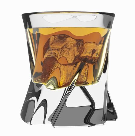 Glass of scotch. Studio shot. Isolated on white background, include clipping path. 3D render Stok Fotoğraf