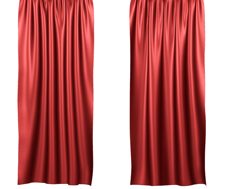 Red curtains isolated on white background. Include clipping path. 3d render