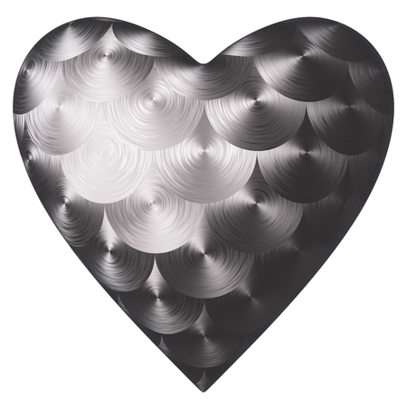 Heart of steel. Isolated on white background. Include clipping path. 3d render Stock Photo