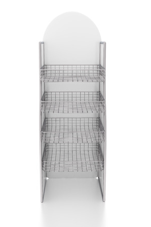 wire mesh: Empty display stand with wire shelves. Isolated on white background, include clipping path. 3d render
