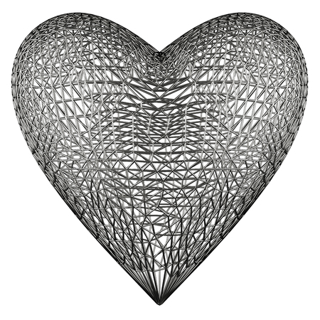 menace: Heart cage on white background. Include clipping path. 3d render