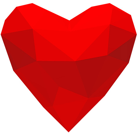 Red crystal heart. Isolated on white background. Include clipping path. 3d render
