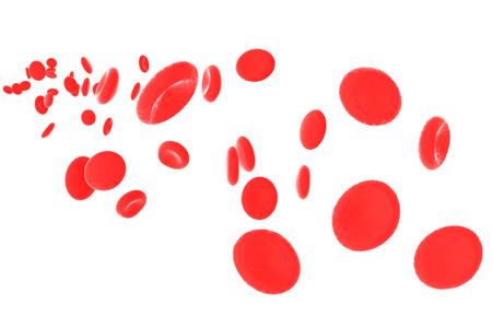 Red blood cells isolated on white background. Include clipping path. 3d render Stock Photo