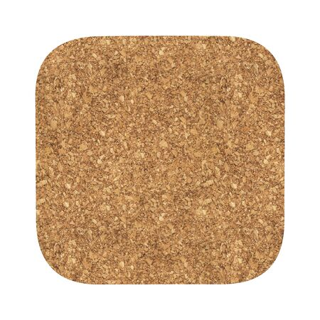 Square cork coaster. Isolated on white background. Include clipping path. 3d render