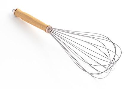 Wire whisk geïsoleerd op een witte achtergrond. Inclusief clipping path. 3D render