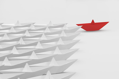 Leadership concept. Red paper ship among white with clipping path. 3d render