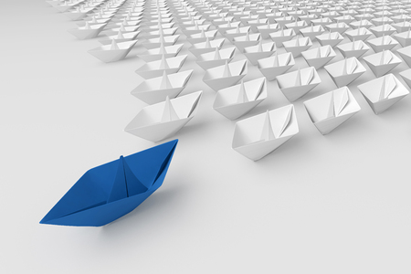 supervisión: Leadership concept. Blue paper ship among white. 3d render