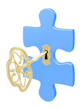 Golden key and puzzle. 3d render