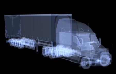 Röntgenvrachtwagen geïsoleerd. 3D render