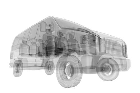 X-ray bus isolated. 3d render Stock Photo
