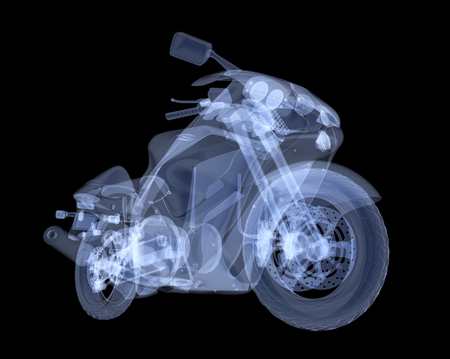 X-ray motorbike isolated. 3d render