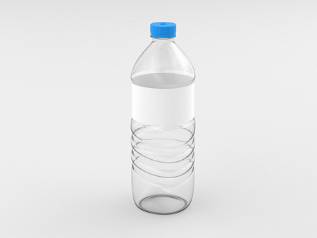 Empty plastic bottle of water with blank label isolated on white background include clipping path. 3d render Stock Photo