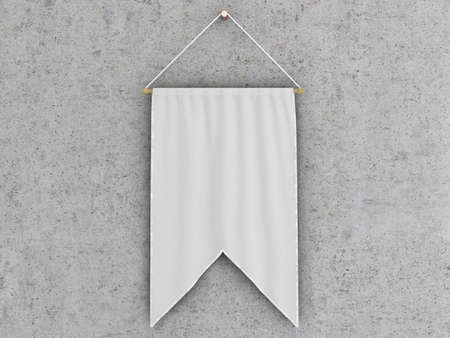 hang up: White  pennant (pennon or pendant) hanging on a concrete wall. Include clipping path. 3d illustration Stock Photo